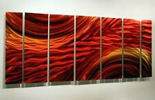 Modern Abstract Metal Wall Artwork Decor Painting Red Gold Harvest Moods II