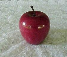 "Vintage Red Marble Alabaster Stone Apple w Brown Stem Paperweight 3"" - 1-1/2 lb"