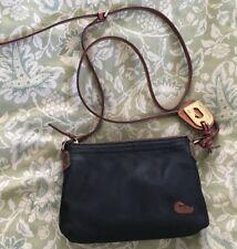 DOONEY & BOURKE Black Nylon Tan Leather Pouch Crossbody Purse Bag