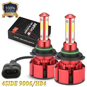 9006 HB4 4-Sided LED Headlight Bulbs Low Beam Fog Lamp 6000K White 100W 25000LM
