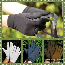 COTTON RIDING GLOVES PIMPLE RIDING SHOWING ALL SIZES NAVY BROWN BLACK OR WHITE