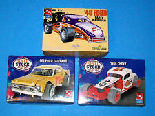 3 AMT MODIFIED STOCK CAR KITS FOR ONE BID - TWO ARE UNOPENED, ALL ARE COMPLETE!
