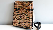RIVER ISLAND Beige Tiger Print *Real Leather* Slouch Bag BNWT