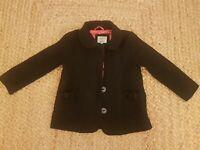 Girls Little Dickins & Jones Black Coat Age 5-6 yrs