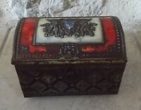 Antique red tin box advertising Biscuits Candy France cookies french vintage vtg