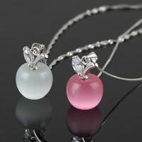frauen süß mode charme anhänger halskette versilbert crystal kleine apple opal