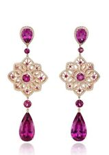 9Ct Pear Cut Simulnt Amethyst Diamond Chandelier Earrings Yellow Gold Fns Silver