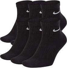 Nike Everyday Cotton Cushioned Ankle Socks 6 Pack Large Black
