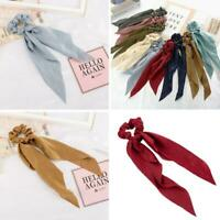 Boho Bow Satin Long Ribbon Ponytail Scarf Hair Tie Scrunchies Elastic Rope O2T2