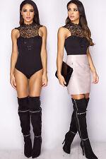 Womens Ladies New Lace Black Highneck Bodysuit Leotard Top Bodice 6-14 UK