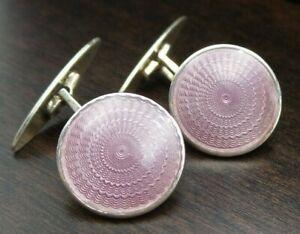 Antique European 900 Silver & Light Purple Guilloche Enamel Designer Cufflinks