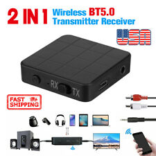 2 IN 1 Bluetooth 5.0 Transmitter & Receiver Wireless Audio Aux 3.5mm Adapter New