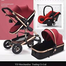 YulDek Modern Baby Pushchair 3 in one Red Wine Colour, Car seat.