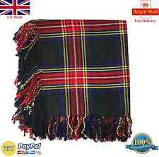 Hs Écossais Kilt Mouche Plaid Noir Motif Tartan Rouge 122cm X Purled Frange