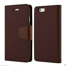 Genuine MERCURY Goospery Brown Leather Wallet Flip Case Cover For iPhone 6/6s