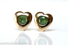 9ct Gold Emerald Heart Stud earrings Gift Boxed studs