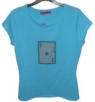 Ladies Diamante T-Shirt Blue - Ace of Spades