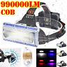990000LM Waterproof LED COB Headlamp Headlight Fishing Torch Flashlight USB