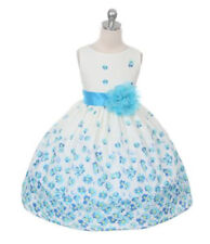 New Flower Girls Aqua Blue Floral Print Daisy Dress Cotton Easter Wedding Party