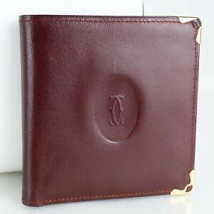 CARTIER les must de Cartier Bifold Wallet Leather Purse Bordeaux Burgundy