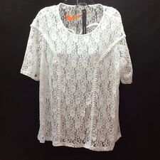 Harve Benard Blouse Shirt Size L Pullover White Nylon Blend NWT Semi Sheer