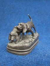 Dogs Silvered Bronze Group Of Two Pointers Hunting A.Dubucand Two Bloodhounds