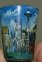 Nice MINTY SEATTLE Washington WA Skyline Space Needle Blue Shot Glass