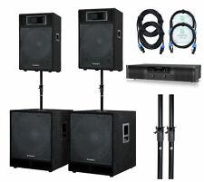 Active DJ PA Speaker System Subwoofer Complete Live Set Amplifier Stands 3000W