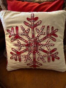 "NWT Pottery Barn Plaid Snowflake Icon Embroidered 18"" Pillow Cover SOLD OUT NLA"