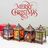 Christmas LED Light Up Lantern Xmas Santa Claus Table Lamp Ornament Decoration