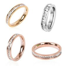 Silver/Rose Gold Cubic zircon Titanium Steel Ring Unisex Stainless Wedding Band
