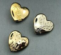 Set of 3 Vintage Disney Variety Club Gold-tone Collectible Hearts Brooch Pins