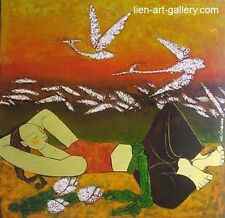OOP A prepubescent girl shys lacquer  Ngoc Tung b1957   & another painters