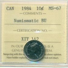 1984 Canada 10 Cent NBU ICCS MS-67, Very Affordable for New Hobbyist