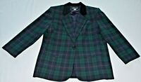 Sag Harbor Womens Size 16 Green Blue Jacket Blazer Single Button Career Wear Top