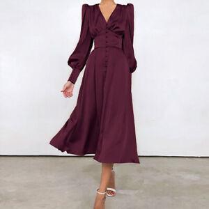 1940S Solid Silk Buttoned Tea Dress Women Long Sleeve Dress