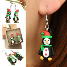 1Pair Xmas Handmade Polymer Clay Soft Penguin Pattern Dangle Hook Earrings