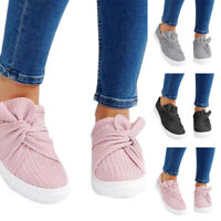 Women's Mesh Bowtie Flats Casual Sneakers Platform Slip-On  Loafers Shoes Size