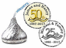 25th or 50th ANNIVERSRAY PARTY FAVORS HERSHEY KISS KISSES LABELS