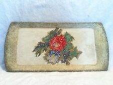 """Distressed 17"""" Gold Floral Fabric Decoupage Kentley Wood Fiber Serving Tray MI"""