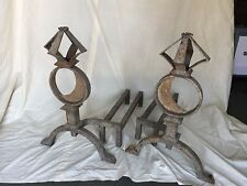 Antique Pair of Wrought Iron Andirons Astrolgical