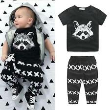 2PCS Baby Boy Girls Toddler T-shirt Top+Pants Kid Shorts Outfit Clothes Set 80