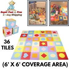 Kids Learning Shape Puzzle Play Mat Interlocking Tiles Baby Exercise Rug 36 Pcs