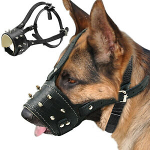 Spiked Studded Leather Muzzle for Medium Large Dog Secure Basket Anti Bark Bite