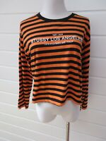 STUSSY Womens Long Bell Sleeve Orange & Black Cropped Top - Size 10