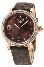 Gv2 By Gevril Women's 12604F Ravenna Floral Diamond MOP Dial Leather Swiss Watch