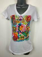 WOMENS REEBOK WHITE MARL PRINT SHORT SLEEVE CASUAL V NECK T SHIRT SIZE S SMALL