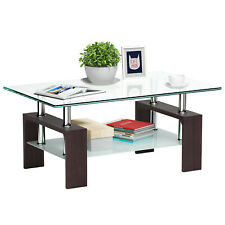 Rectangular Tempered Glass Coffee Table w/Shelf Wood Living Room Furniture