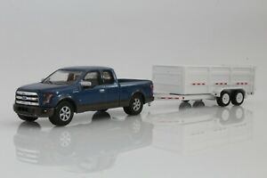 2016 Ford F-150 Pickup Truck & Dump Trailer 1:64 Scale Diecast Model Blue, White