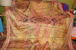 vintage Chinese chinoiserie woven pattern fringed bedspread / throw